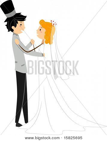 Illustration of an Interracial Newlyweds Doing a Wedding Dance