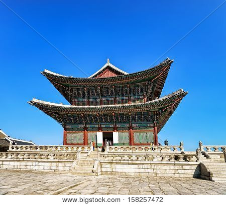 Throne Hall And People At Gyeongbokgung Palace In Seoul