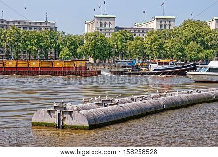 Victoria Embankment At Whitehall And River Thames In London