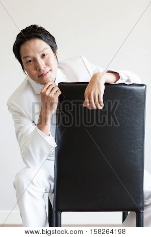 Handsome Asian man in suit.Take photo in Studio.
