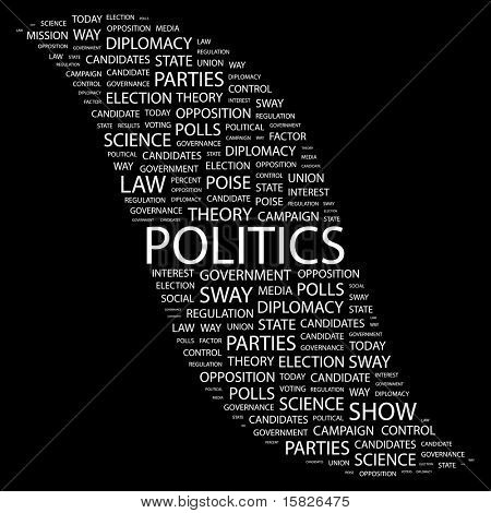 POLITICS. Word collage on black background. Vector illustration. Illustration with different association terms.