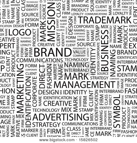 BRAND. Seamless vector pattern with word cloud. Illustration with different association terms.