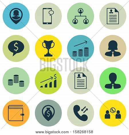 Set Of Hr Icons On Curriculum Vitae, Tournament And Wallet Topics. Editable Vector Illustration. Inc
