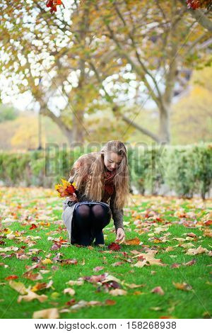 Young girl gathering bright autumn leaves on a fall day