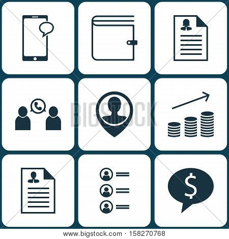 Set Of Management Icons On Coins Growth, Business Deal And Phone Conference Topics. Editable Vector