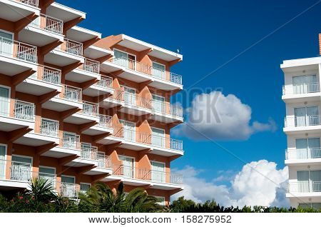 Architectural details of a hotel building in Majorca Spain