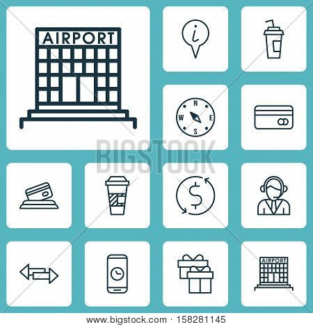 Set Of Travel Icons On Credit Card, Locate And Crossroad Topics. Editable Vector Illustration. Inclu