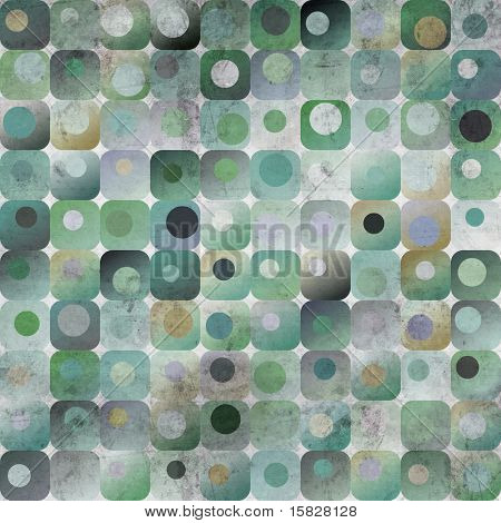 An abstract grungy image of squares with nested circles in blue and green tones