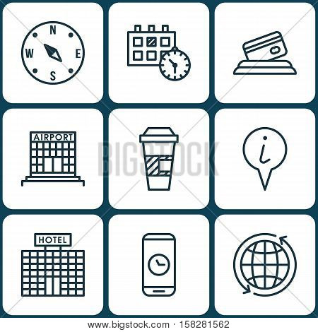 Set Of Transportation Icons On Takeaway Coffee, Credit Card And Hotel Construction Topics. Editable