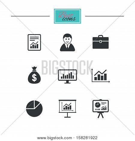 Statistics, accounting icons. Charts, presentation and pie chart signs. Analysis, report and business case symbols. Black flat icons. Classic design. Vector