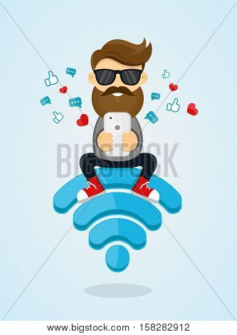Young men guy character sitting on wi-fi emblem and using smartphone for internet. free internet hotspot network concept. flat vector design illustration.sending a message via chat from smartphone