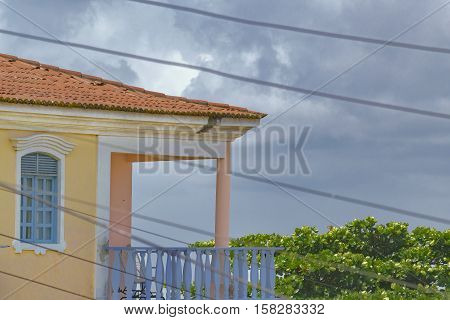 Low angle view of eclectic style building located in Natal Brazil