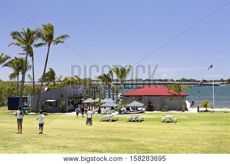 BRIBIE ISLAND, AUSTRALIA - November 20, 2016: Resort outdoor setting on the banks of the Pumicestone Passage near the bridge to the Bribie Island Queensland Australia