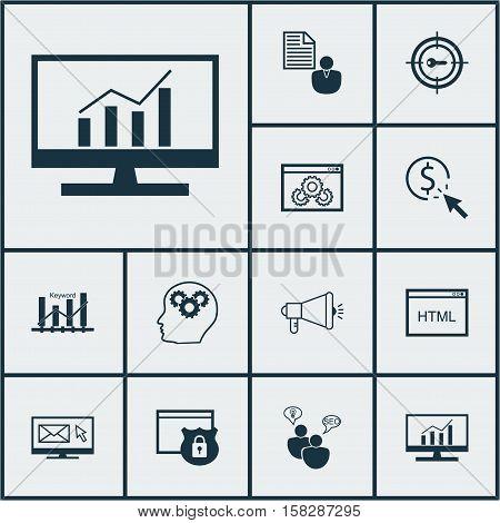 Set Of Seo Icons On Keyword Marketing, Media Campaign And Coding Topics. Editable Vector Illustratio