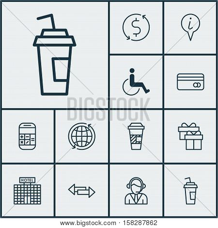 Set Of Travel Icons On Crossroad, Takeaway Coffee And Calculation Topics. Editable Vector Illustrati