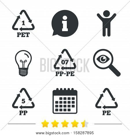 PET 1, PP-pe 07, PP 5 and PE icons. High-density Polyethylene terephthalate sign. Recycling symbol. Information, light bulb and calendar icons. Investigate magnifier. Vector