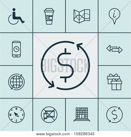 Set Of Travel Icons On Crossroad, Money Trasnfer And Airport Construction Topics. Editable Vector Il