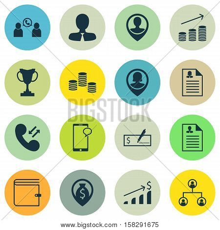 Set Of Hr Icons On Tree Structure, Money And Successful Investment Topics. Editable Vector Illustrat
