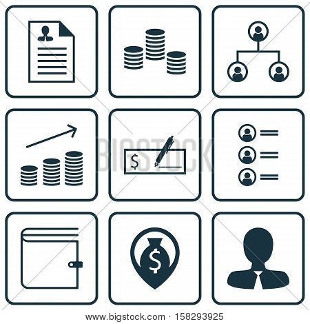 Set Of Management Icons On Coins Growth, Wallet And Job Applicants Topics. Editable Vector Illustrat