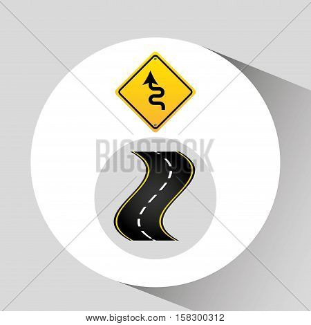 winding road sign concept graphic vector illustration eps 10