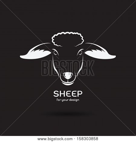 Vector image of a sheep head design on black background Vector sheep logo. Farm Animals.