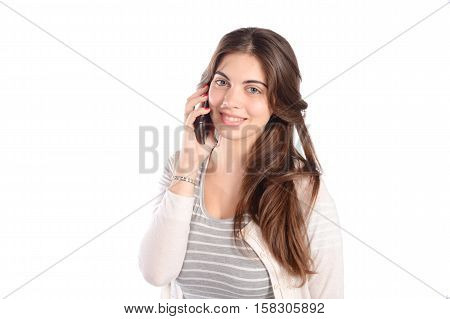 Young beautiful woman talking on phone. Isolated white background.