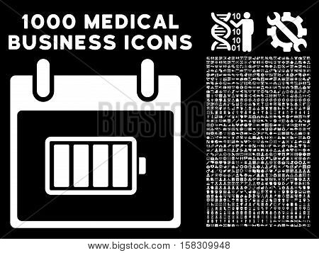 White Battery Calendar Day vector icon with 1000 medical business pictograms. Set style is flat symbols, white color, black background.