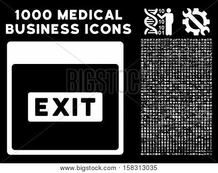 White Exit Caption Calendar Page vector icon with 1000 medical business pictograms. Set style is flat symbols, white color, black background.