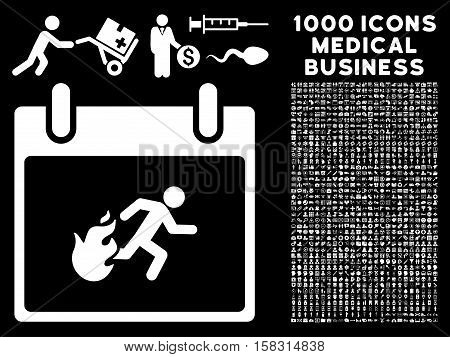 White Fire Evacuation Man Calendar Day vector icon with 1000 medical business pictograms. Set style is flat symbols, white color, black background.