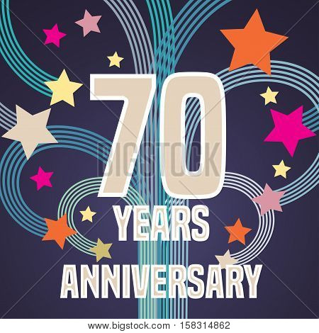 70 years anniversary vector illustration, banner, flyer, icon, symbol, sign, logo. Graphic design element with fireworks for 70th anniversary, birthday card