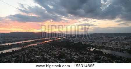 Beautiful sunset over Vienna, the capital of Austria