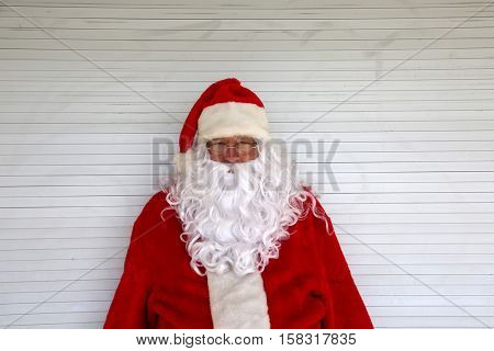 Santa Claus Head Shot. Santa Head shot. Santa Claus Studio Head shot. Head shot in black and white. Smiling Santa Claus.