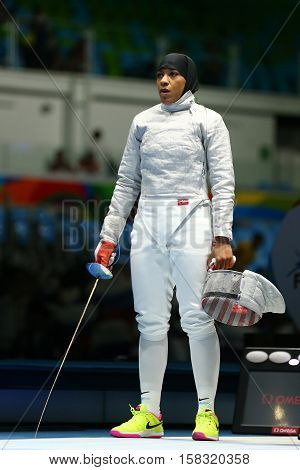 RIO DE JANEIRO, BRAZIL - AUGUST 8, 2016: Ibtihaj Muhammad of the United States in action during Women's individual sabre match of the Rio 2016 Olympic Games at the Carioca Arena 3