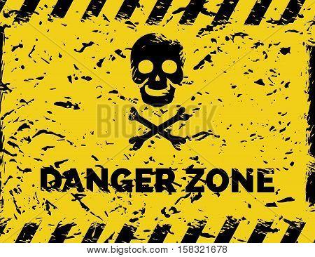 Danger zone grunge background with skull bones cross and danger tapes vector