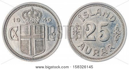 25 Aurar 1940 Coin Isolated On White Background, Iceland