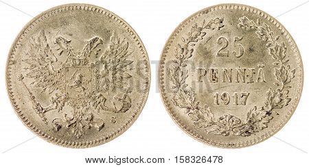 25 Pennia 1917 Coin Isolated On White Background, Finland