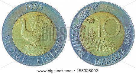 10 Markkaa 1993 Coin Isolated On White Background, Finland