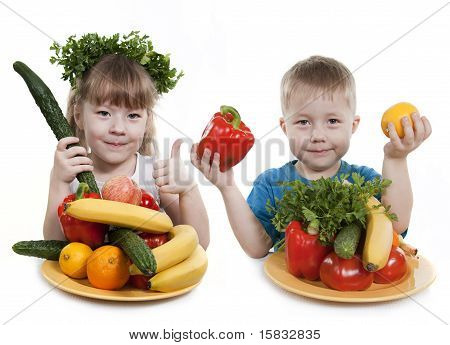 Vegetables And Fruit It Are A Healthy Food Of Children.