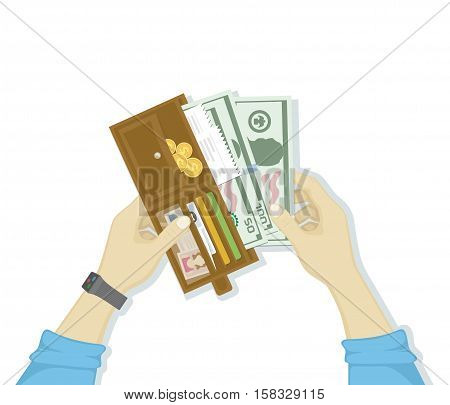 Open wallet with cash money and credit cards, gold coins, checks, driver's license in man hands isolated on white background. Human hands putting cash dollars. Payment concept. Vector in flat design