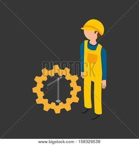 under construction gear crane icon vector illustration eps 10