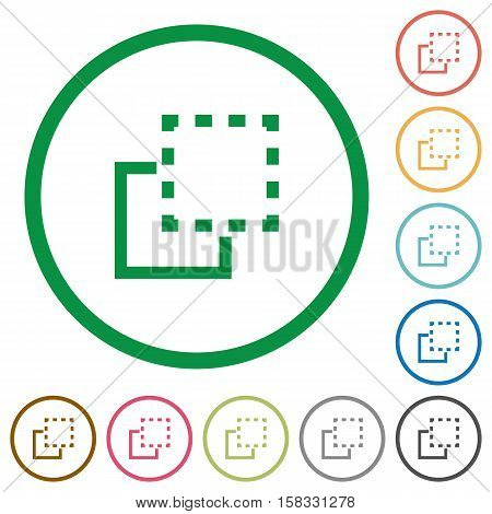 Bring to front flat color icons in round outlines