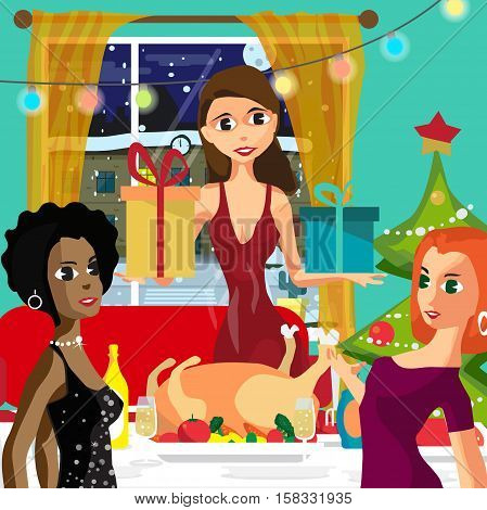 Home Party New Year or Christmas. Feast guests and giving gifts. View at night snowy street. Flat cartoon vector illustration