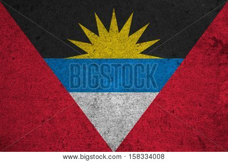 Antigua And Barbuda Flag On An Old Grunge Background