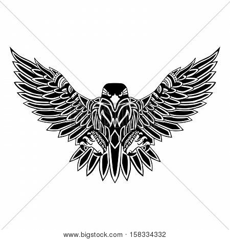 Flying eagle black silhouette with a pattern on the body. Hand drawing in ethnic style / Tattoo design.