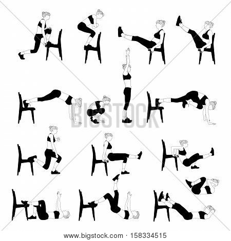 Collection of exercises at home with a chair. Slim girl doing sport workout.