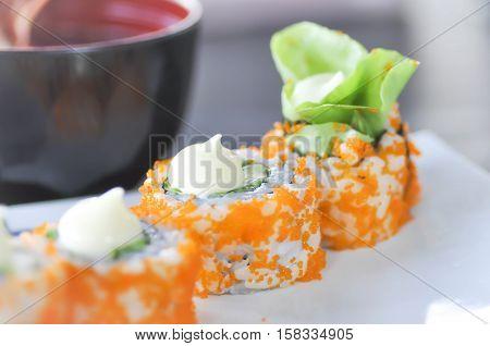 California Maki or rice rolldish Japanese food