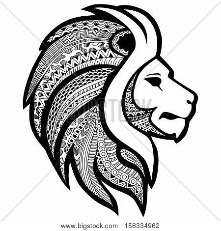 Zentangle stylized tattoo profile lion head. Ethnic patterned ornate decorative lion' mane. African totem tattoo design poster print or t-shirt.