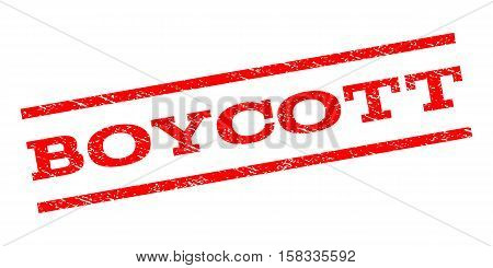 Boycott watermark stamp. Text caption between parallel lines with grunge design style. Rubber seal stamp with dirty texture. Vector red color ink imprint on a white background.