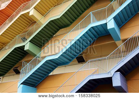 The fire escape stairs of the building