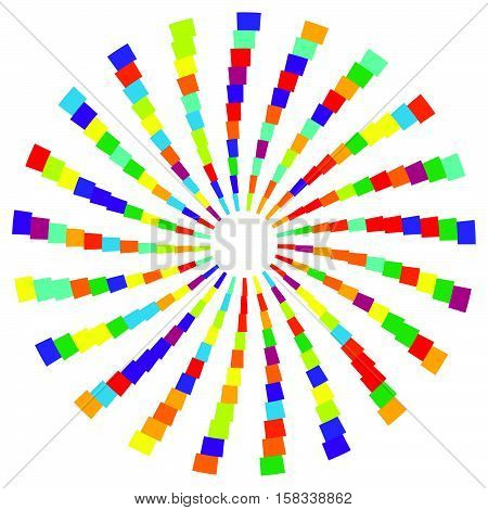 Colorful Radial Circular Element. Multicolor Geometric Circle Of Rectangles